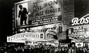 Huge crowds outside Warners' theatre in Times Square, New York to see The Jazz Singer