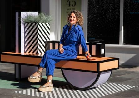 Camille Walala on her Walala Lounge seat in Mayfair.