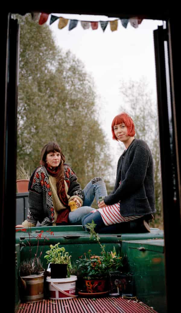 Zoë Padley and Danielle Lovett on one of their houseboats in Manchester