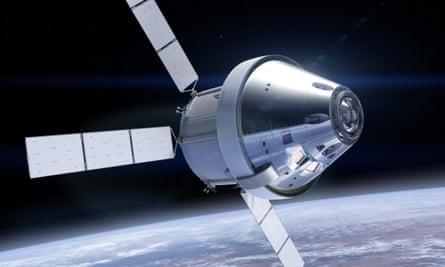 A rendering of Nasa's Orion space capsule in orbit.