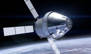 an artists rendering of the orion spacecraft above earth