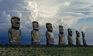 Statues – known as moai – on Easter Island