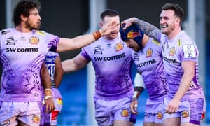 Jack Nowell celebrates his try with Sam Simmonds and Stuart Hogg in Exeter's win over Northampton