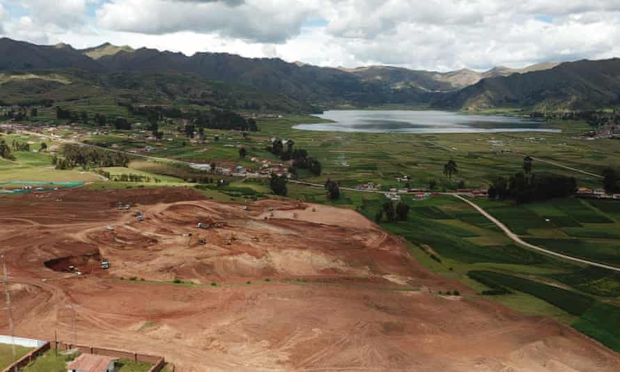 Bulldozers and diggers clearing millions of tonnes of earth in Chinchero, Peru for the construction of a new international airport.