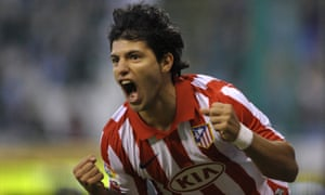 Agüero celebrates a goal for Atlético Madrid in 2009. He scored 101 goals in 234 goals in Spain before joining Manchester City in 2011.
