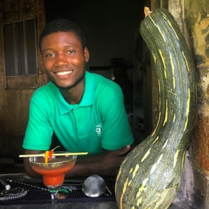 """Here's mud in your islet. This guy, Alexander, serves the best cocktails on Príncipe. He was trained this year and is already inventing wonderful and weird stuff – such as his """"jaja"""": whisky, lemon and jackfruit."""