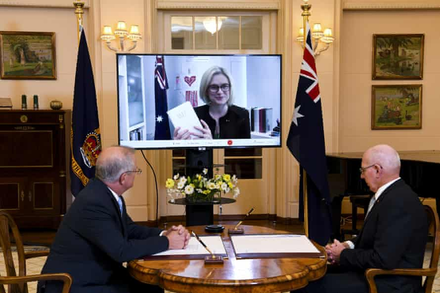 Amanda Stoker attends via video link during a virtual swearing-in ceremony at Government House in Canberra on Tuesday.