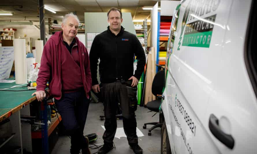 Martin Linter, the director of EM Print and Signs, with his son Phil.