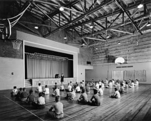 Children in the gym of a school built for the children of employees.