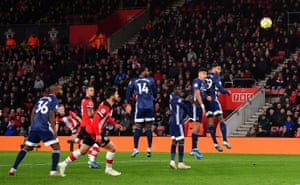 Southampton's James Ward-Prowse curls in the free-kick.
