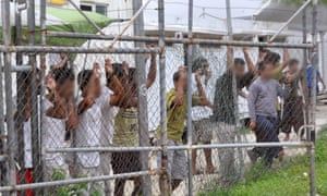 Asylum seekers at the Manus Island detention centre in Papua New Guinea