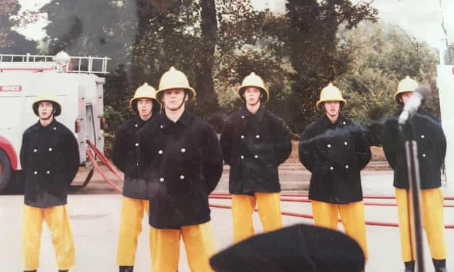 Reynolds with her crew at Norfolk fire service.