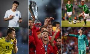 Jadon Sancho of England, Cristiano Ronaldo of Portugal raises the Nations League trophy, Callum Robinson of Republic of Ireland, Spain's Kepa Arrizabalaga, Elbasan Rashani of Kosovo celebrates.