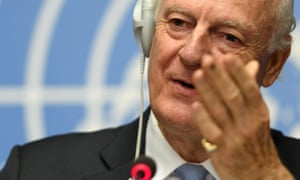 Staffan de Mistura holds a press conference at the European headquarters of the United Nations in Geneva.