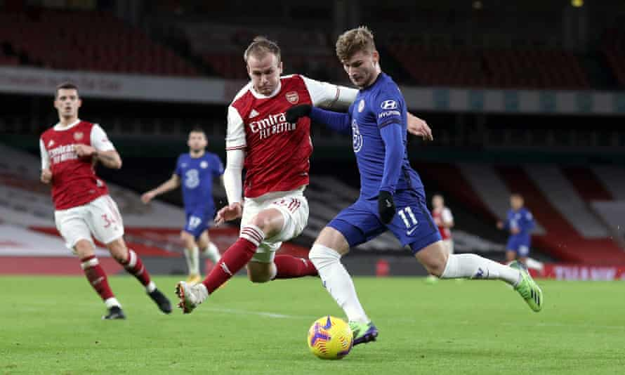 Rob Holding tries to block Timo Werner during the Arsenal win over Chelsea on Boxing Day that proved a turning point for the team.