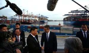 President Xi Jinping of China and the Greek prime minister, Kyriakos Mitsotakis, shake hands in Piraeus