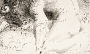 A detail from Pablo Picasso's Minotaur Caressing the Hand of a Sleeping Girl With His Face.