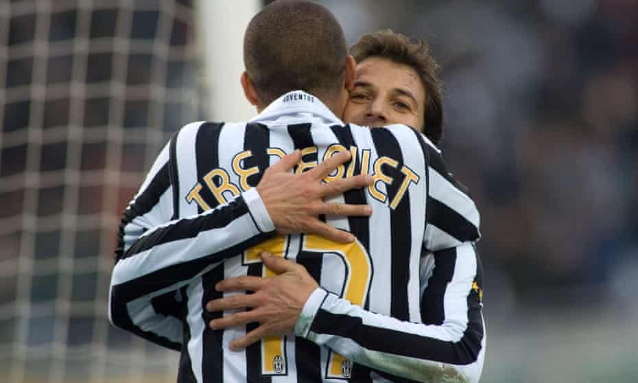 Alessandro del Piero and David Trezeguet hug each other after combining to score a goal against Bari in a Serie B match in January 2007.