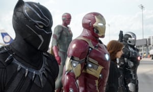 Just give me some human emotion: Chadwick Boseman, Paul Bettany, Robert Downey Jr, Scarlett Johansson and Don Cheadle in Captain America: Civil War.