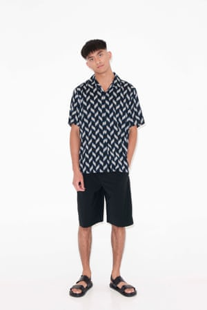 grey, black, blue patterned shirt, Next, black shorts and black sandals both from H&M