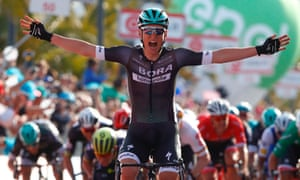 Austria's Lukas Postlberger celebrates as he crosses the finish line in Olbia.