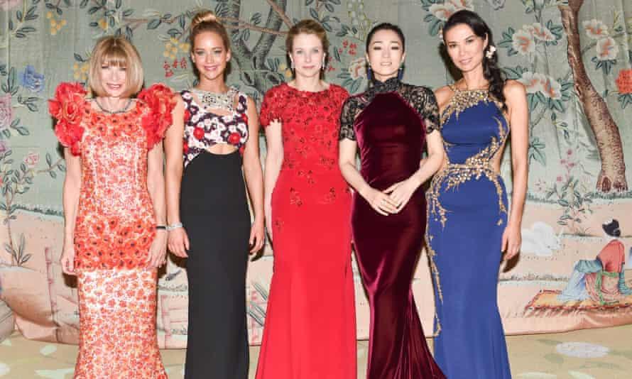 Anna Wintour, Jennifer Lawrence, Marissa Mayer, Gong Li and Wendi Deng at the Met Ball last year