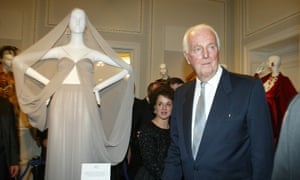 """Hubert de Givenchy during the opening of an exhibition titled """"Dream Dresses of Timeless Elegance"""" in Budapest, Hungary, October 2002."""