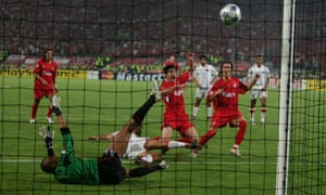 Having seen his penalty saved, Alonso scores the rebound to bring Liverpool level in their epic 2005 Champions League final against Milan in Istanbul
