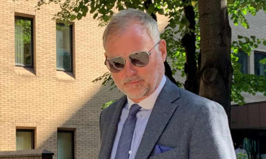 John Leslie outside Southwark crown court in London