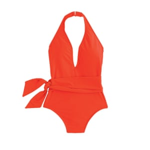 red swimsuit with waist tie