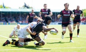 Maro Itoje joins the Saracens try-scoring rol lcall in the second half against Wasps at Allianz Park.