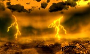 Artist's concept of lightning on Venus. The Japan Aerospace Exploration Agency's Venus Climate Orbiter mission is observing the planet's weather system in unprecedented detail.