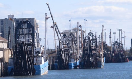 Commercial fishing boats docked in Atlantic City, New Jersey.