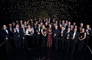 Joanna Lumley on stage with all the Bafra winners