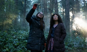 Ava DuVernay with Storm Reid on the set of Disney's A Wrinkle in Time.