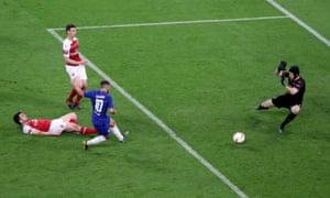 Chelsea's Eden Hazard scores their fourth goal.