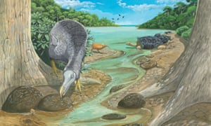 Reconstruction of the dodo in the Mare aux Songes, a place where a large number of specimens of dodo have been found.