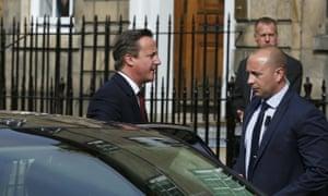 David Cameron arrives for his meeting with Nicola Sturgeon
