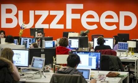 The newsroom at BuzzFeed, where 220 jobs are being cut across departments.