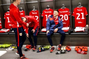 Jamie Paterson of Bristol City in the changing room before the match