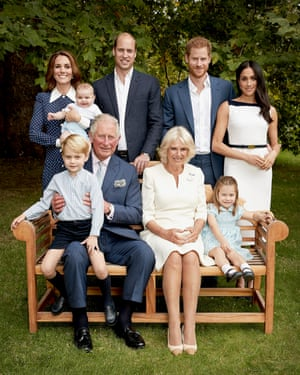 Prince Charles in the gardens of Clarence House, with the Duchess of Cornwall, the Duke and Duchess of Cambridge, Prince George, Princess Charlotte, Prince Louis, and the Duke and Duchess of Sussex.