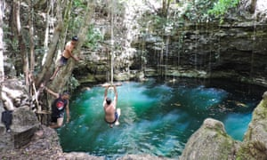 A giant sinkhole, or cenote, in Yucatán, Mexico.