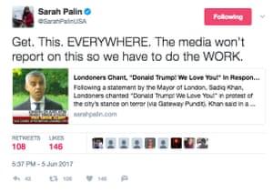Screengrab of a Sarah Palin tweet