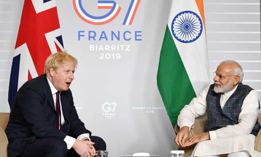 Boris Johnson and Narendra Modi at a G7 summit in 2019
