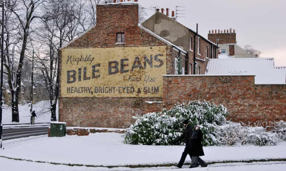 The controversial Bile Beans advert on Monkgate, York on a snowy day