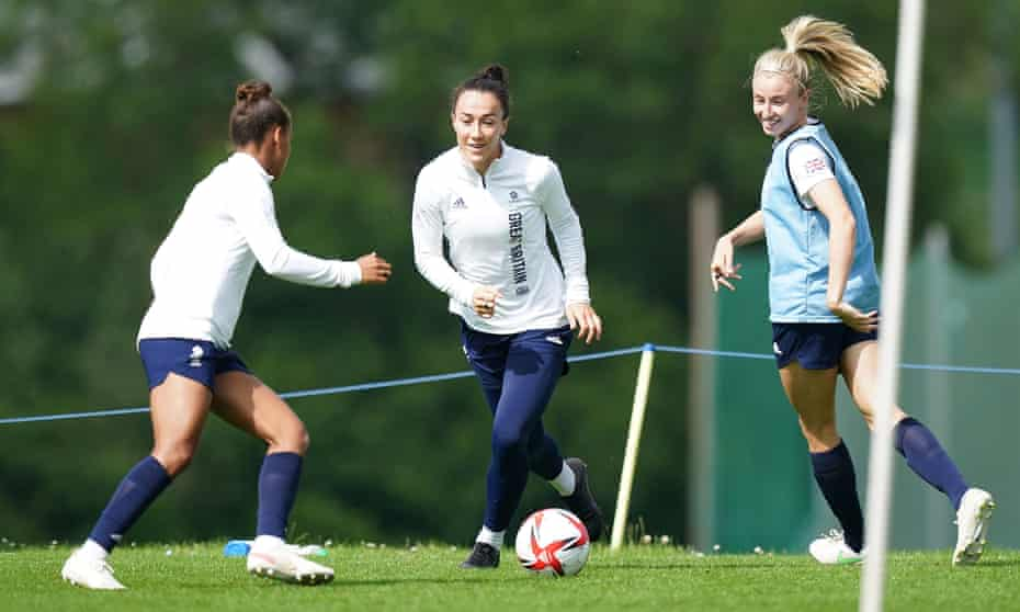 Bronze (centre) trains with Nikita Parris (left) and Leah Williamson before departing for Tokyo. Of Team GB's 22-strong squad in Tokyo, 19 are from England.