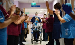 Margaret Keenan being applauded by staff In December after becoming the first person in the UK to receive the Pfizer/BioNtech covid-19 vaccine.