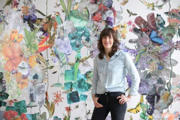 Börsch in fornt of one of her installations at her studio