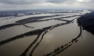 The Mississippi river spills out of its banks near Ste. Genevieve, Missouri, in December 2015