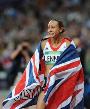 An emotional Ennis as she celebrates her victory